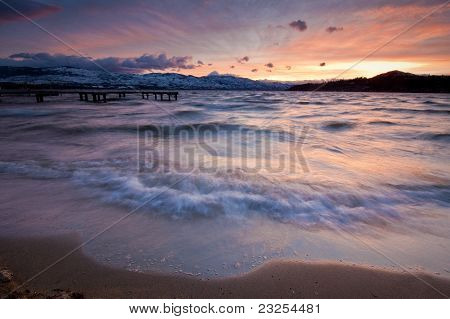 Waves on a Mountain Lake by Sunset