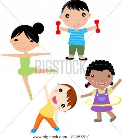 Vier Kinder sport