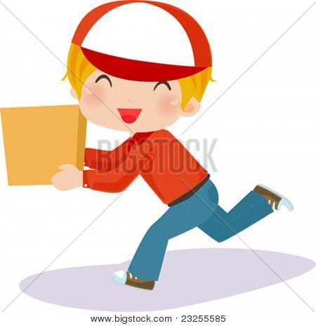 Delivery boy with box - vector illustration.