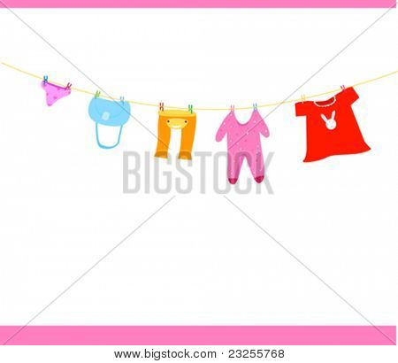 illustration of isolated baby clothes on a clothesline
