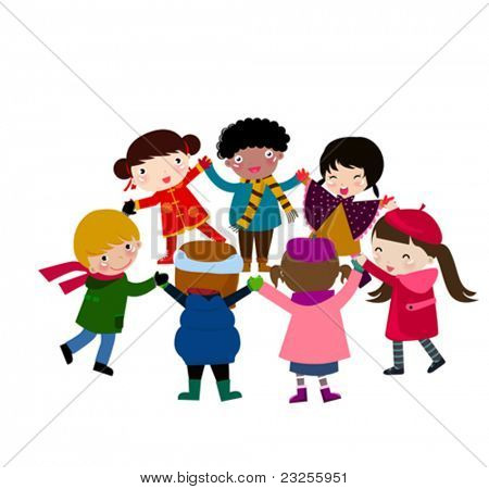 group of happy children holding hand around
