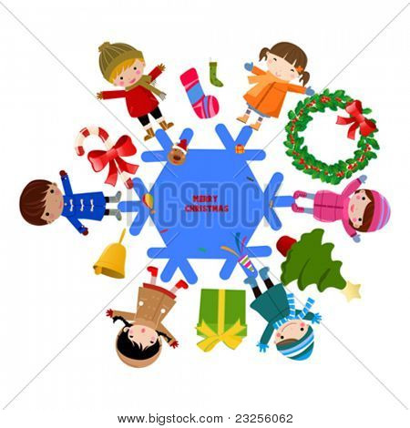 Circle of happy kids with winter and christmas elements