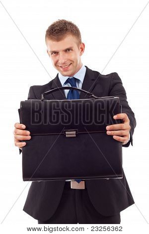 Business Man Offering Case