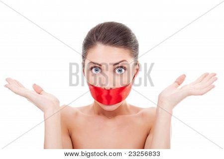 Amazed Woman With Mouth Covered