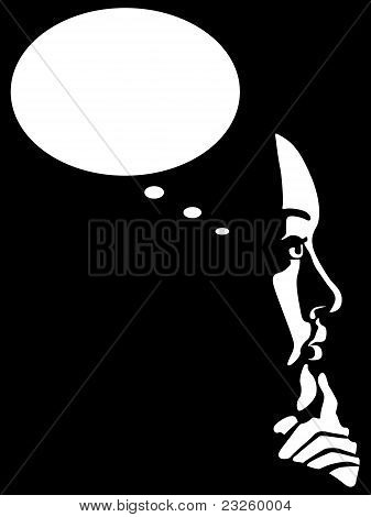 Thinking woman vector