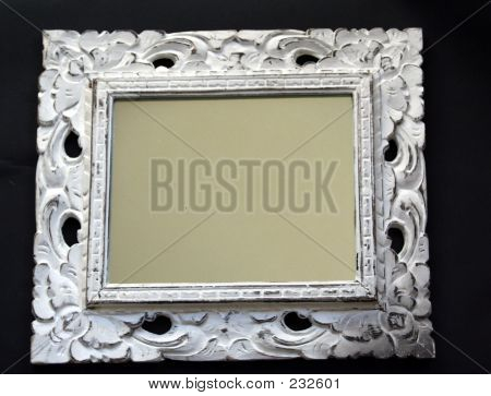 Mirror With White Wooden Frame