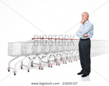standing senior caucasian man and 3d trolley