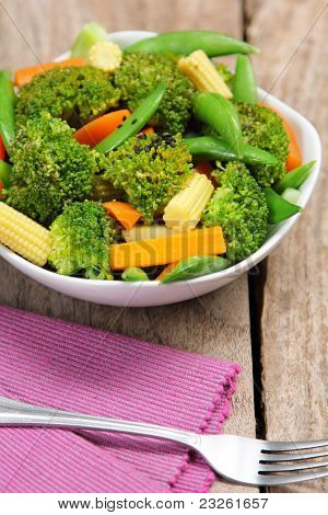 Broccoli salad with carrot ,baby corn and snap pea