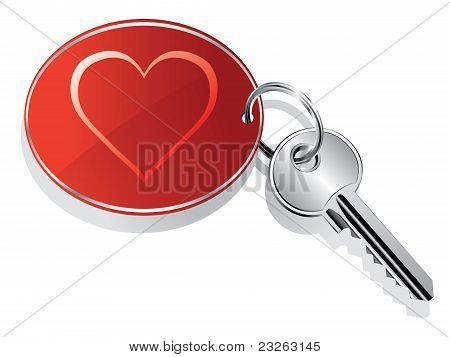 Heart key ring vector