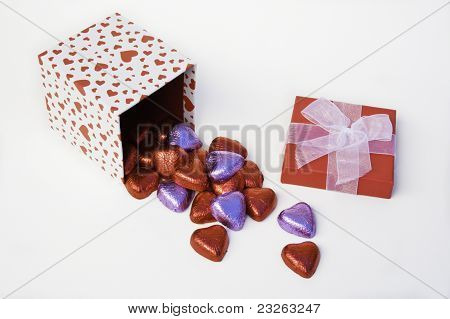 Heart Gift Box Spilling Chocolates