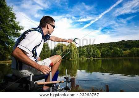 Sport fishing on a beautiful lake