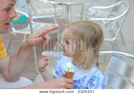 Girl Ice-Cream And Her Father