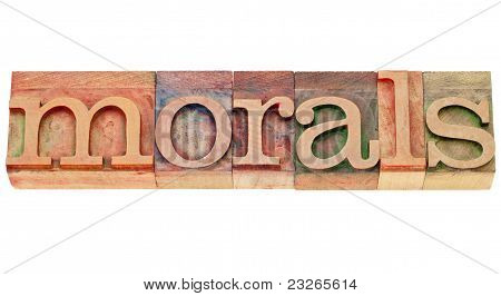 Morals Word In Lettepress Type