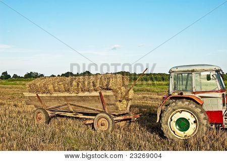 Baling Hay In Filed