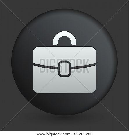 Briefcase Icon on Round Black Button Collection Original Illustration