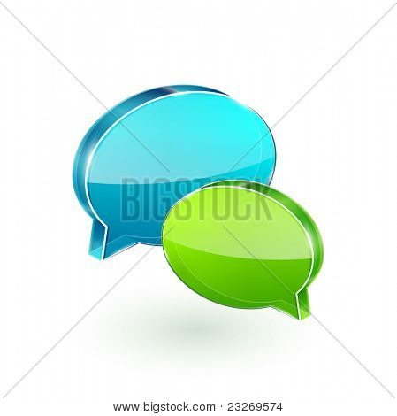 3d vector glass chat boxes