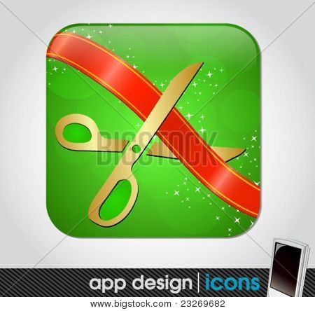 scissors cutting the ribbon - blank app icon for mobile devices