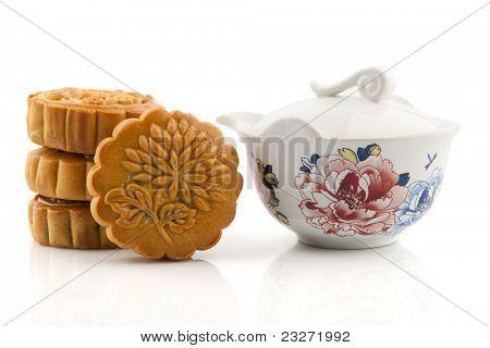 Pastel de Luna y juego de té del Festival medio otoño