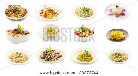 Pasta And Rice Dishes - Collage