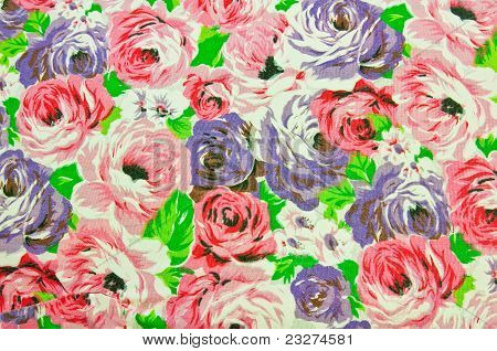 Old Floral Design On Fabric