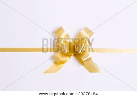 Gold Satin Gift Bow. Ribbon.