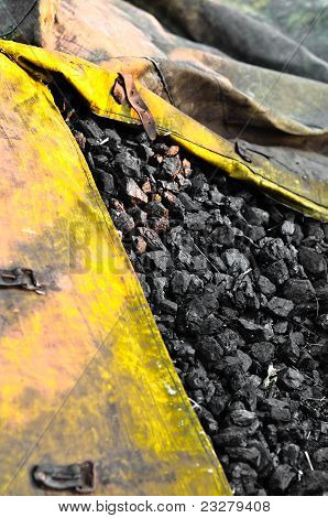 Industrial Coal In Yellow Bag Ready For The Winter