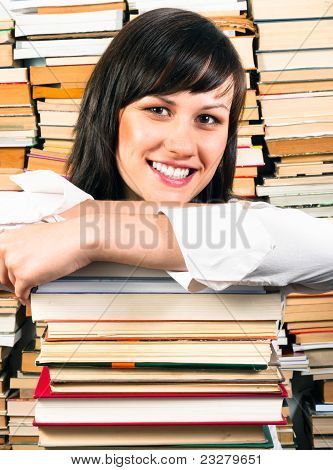Cheerful Young Student And Her Books