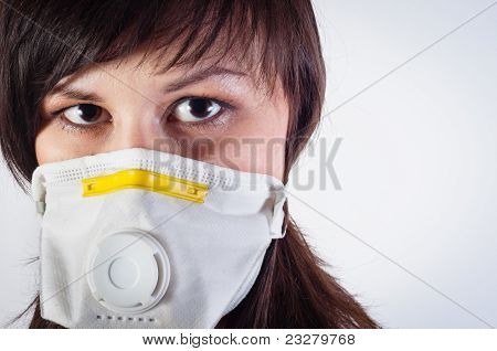 Girl Wearing Protective Mask Against White Background