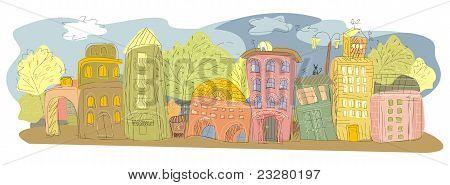 Tekening van een provinciale stad