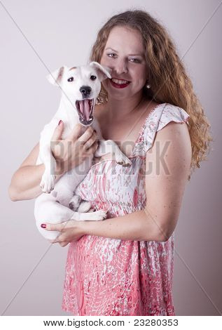 Jack Russel Terrier and the owner