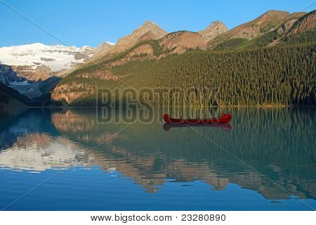Red Canoe on Lake Louise at Dawn