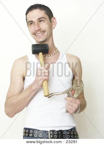 Stolz Dude mit Tools