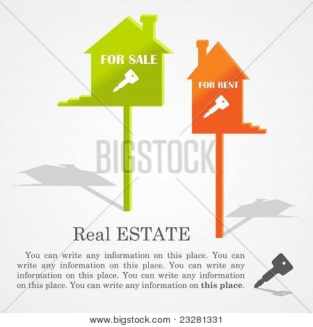 Signboards of homes (sale and rent), vector illustration