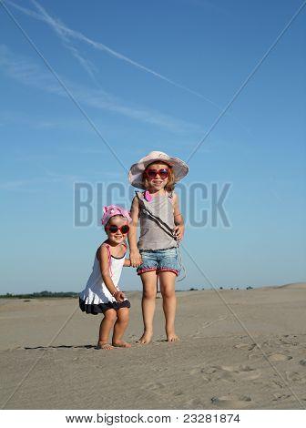 two happy little girl