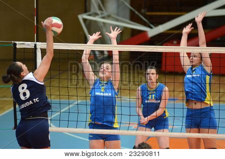 KAPOSVAR, HUNGARY - APRIL 24: Barbara Balajcza (8) blocks the ball at the Hungarian NB I. League woman volleyball game Kaposvar (blue) vs Ujbuda (black), April 24, 2011 in Kaposvar, Hungary.