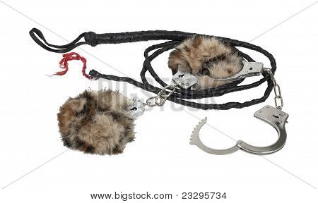 Whip And Fur-lined Handcuffs