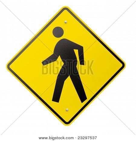 Isolated Yellow Pedestrian Warning Or Safety Sign