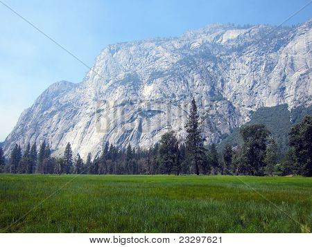 El Capitan and meadows of Yosemite Valley