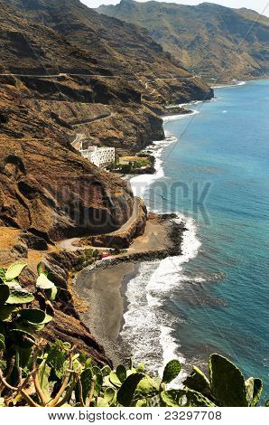 A view of Gaviotas Beach and North-East coast in Tenerife, Canary Islands, Spain