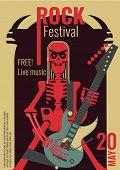 Rock Music Live Festival Poster Vector Illustration For Free Entry Placard To Rock Concert. Design T poster
