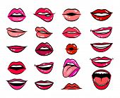 Comic Female Lips. Comic Female Lips In Cartoon Style, Smile And Sensual Lips, Kiss And Tongue Out C poster