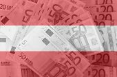 Flag Of Austria With Transparent Euro Banknotes In Background