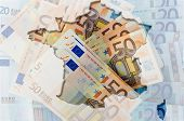 Outline Map Of France With Transparent Euro Banknotes In Background