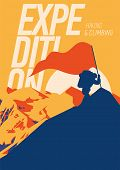 Extreme Outdoor Adventure Poster. Climber On Peak With A Red Flag. High Mountains At Sunset Illustra poster