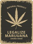 Vector Banner For Legalize Marijuana With Cannabis Leaf In Grunge Style. Natural Product Of Organic  poster