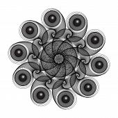Fantastic Abstract Line Geometrical Flower, Rosette Or Symmetrical Ornament In Black And White Color poster
