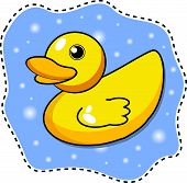 foto of baby duck  - vector illustratioon of a yellow duck in water - JPG