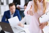 Businesswoman Offer Hand To Shake As Hello In Office Closeup. Serious Business Friendly Support Serv poster
