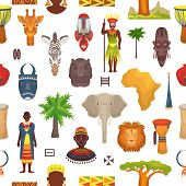 African Culture Vector Characters In Traditional Clothing In Africa With Ethnic Tribal Mask Or Drums poster