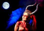 Постер, плакат: Black magic ritual of mad satan woman cry in hell Halloween witch reincarnation mythical creature o